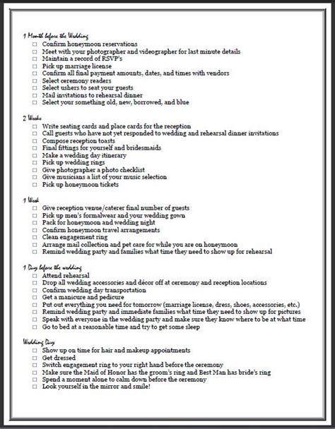 Wedding Checklist Ontario by Free Printable Checklist For Planning A Wedding