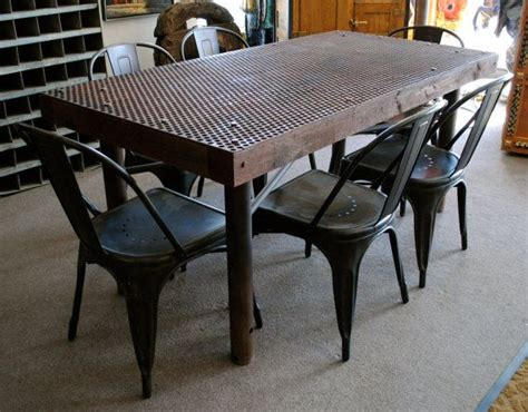 vintage industrial metal and wood dining table with 6