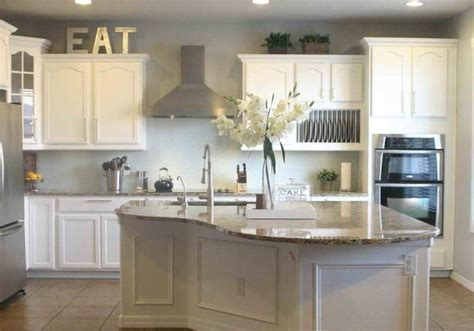 decorating ideas for kitchens with white cabinets grey wall color with classic white cabinet using marble