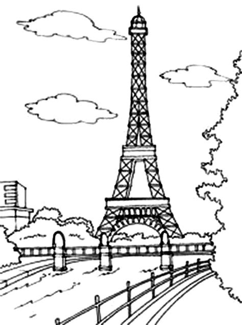 coloring page of eiffel tower eiffel tower coloring pages bestofcoloring com
