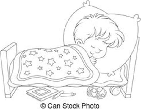 coloring page boy sleeping resting clipart black and white pencil and in color