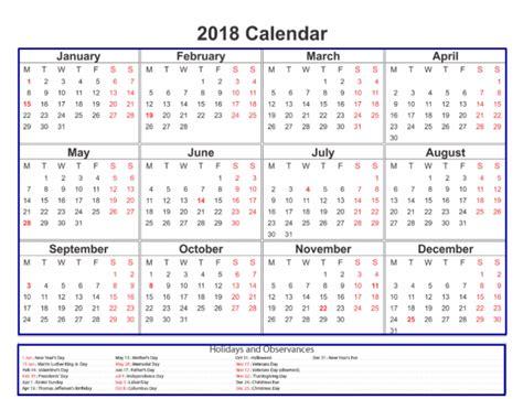 printable calendar 2018 with bank holidays 2018 calendar with holidays printable usa uk canada