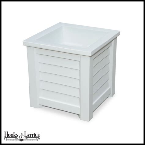 White Square Patio Planter White Vinyl Garden Box Hooks Square White Planter