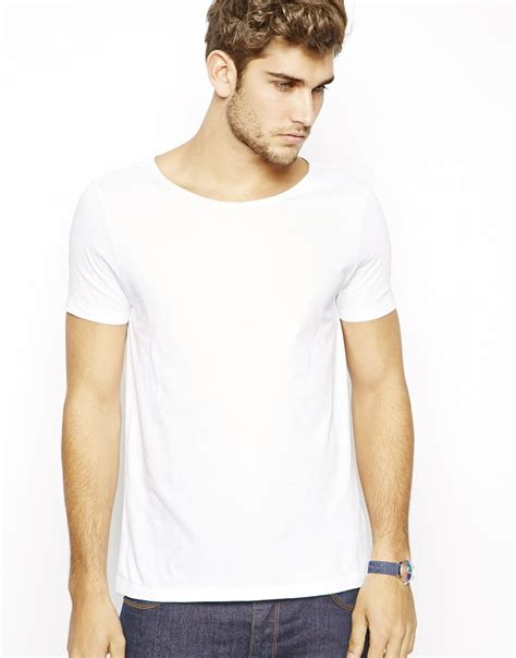 design free asos t shirt lyst asos t shirt with wide boat neck in white for men