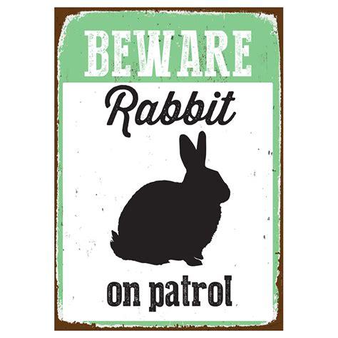 beware sign rabbit tin reptile centre