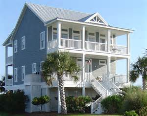 Waterfront House Plans On Pilings Porches Cottage Standard Piling Foundation With Side Entrance Garage 3 Bedroom Version 2176