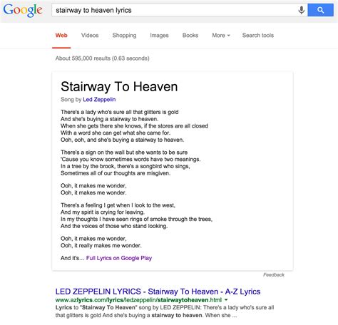 Lyrics Lookup Official Provides Song Lyrics In Search Results With Links To Play