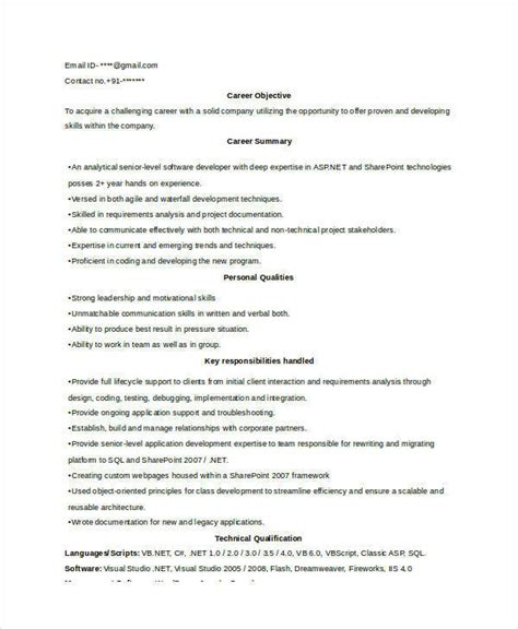 Sle Resume For Experienced Ui Developer sle resume for experienced software engineer 28 images
