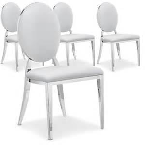 lot de 4 chaises pvc venezia blanc argent lots de chaises