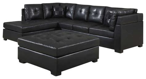 Contemporary Black Leather Sectional Sofa Left Side Chaise By Coaster Coaster Darie Leather Sectional Sofa With Left Side Chaise In Black Transitional Sectional