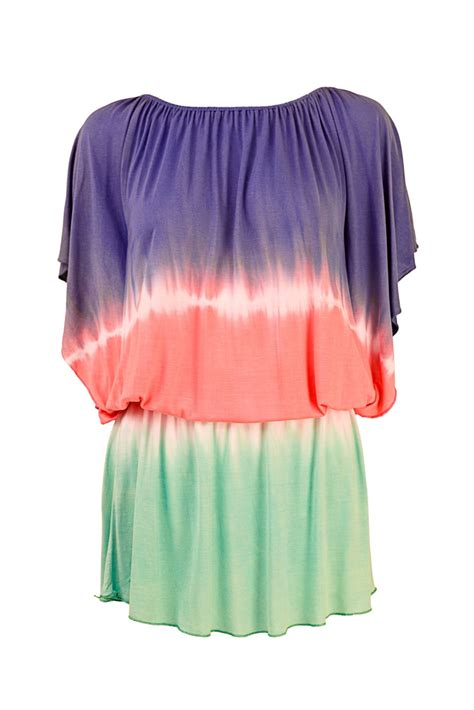 Kaftan 3in1 womens cover up bardot tunic top kaftan tie dye