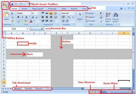 tutorial latihan excel 2007 fungsi worksheet pada microsoft excel 2007 fungsi menu