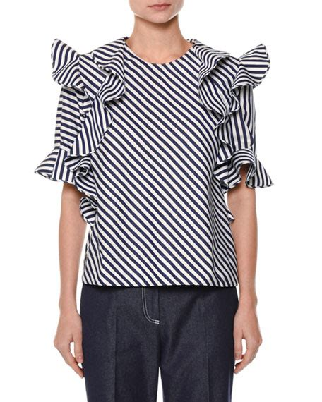 Sleeve Striped Trim Top msgm sleeve striped ruffle trim poplin top white blue