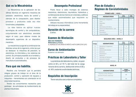Mba Uvm Plan De Estudios by Tecnicatura En Mecatr 243 Nica Utn Facultad Regional Tucum 225 N