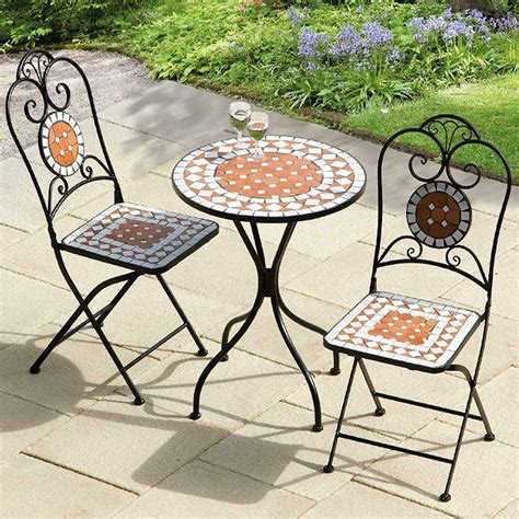 mosaic garden bistro tiles table 2 folding chairs set