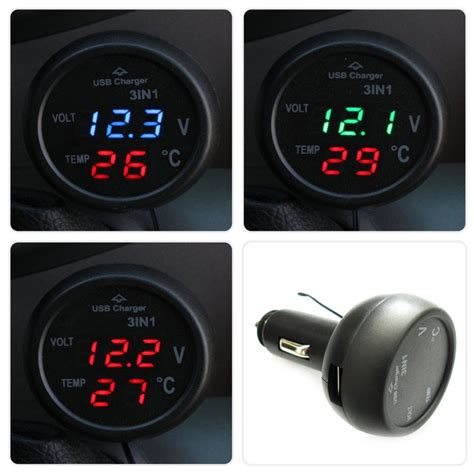 3 in 1 charger 3 in 1 digital led car voltmeter thermometer auto car usb