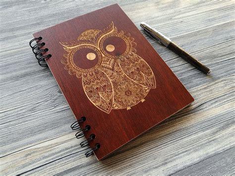 wooden notebook owl custom journal laser engraved notebook