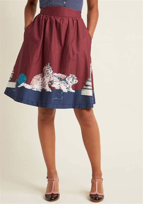 style study a line skirt in scholarly kitties modcloth