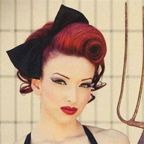 rockabilly bang curl rockabilly victory roll hairstyles to try pinterest
