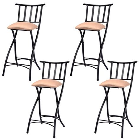 pub height dining chairs costway set of 4 folding bar stools counter height bistro