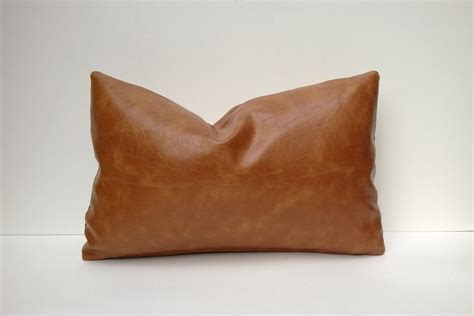 Leather With Pillows by Caramel Brown Faux Leather Decorative Pillow Cover