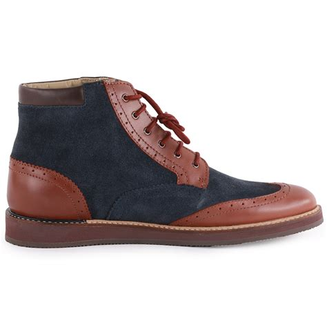 mens all leather boots lacoste millard hi mens leather suede navy brown ankle
