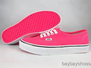 vans authentic neon pink true white black classic skate