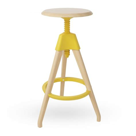 What Does A Yellow Stool by Yellow Wood Swivel Stool