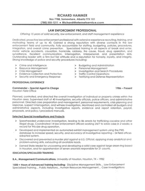 Law Enforcement Job Resume Sample
