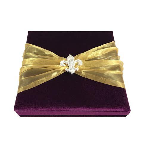 purple wedding invitations boxes royal purple velvet fleur de lis embellished invitation