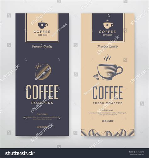 Coffee Packaging Design Vector Template Package Stock Vector 351029948 Shutterstock Coffee Label Design Template