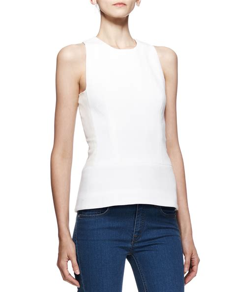 Sleeveless Tribal Top 1 beckham sleeveless fitted neck top in white lyst