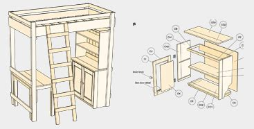 plans for loft bed with desk free quick woodworking projects