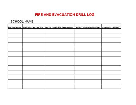 drill record template best photos of emergency drill log and tornado