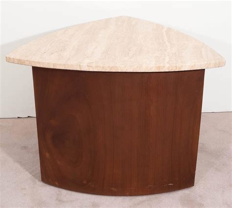 wedge accent table wedge accent table in walnut with italian travertine top