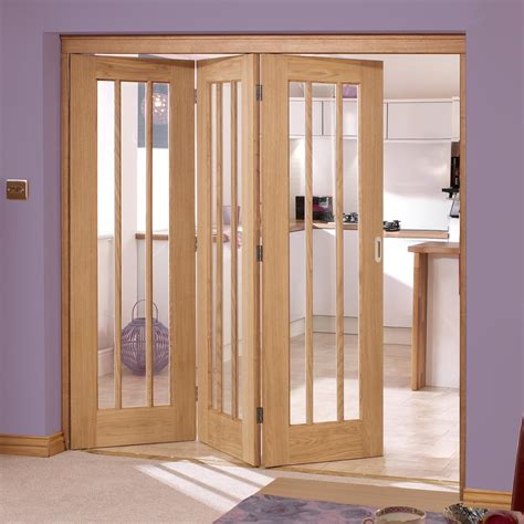 Lincoln Oak 3 Folding Doors Left Clear Glass 2078mm Glass Folding Doors