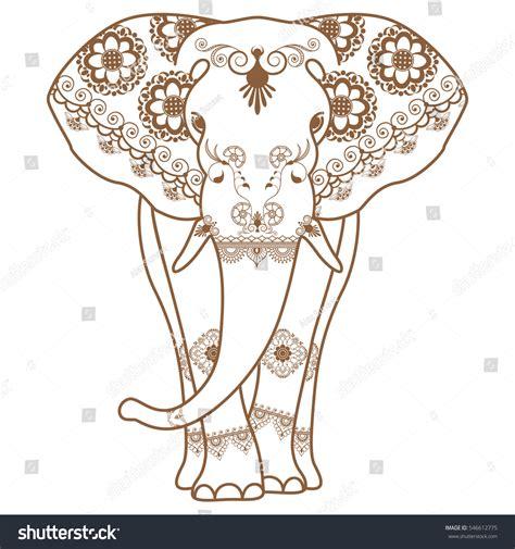 indian henna tattoo vector mehndi brown henna elephant decorated stock vector