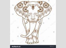 Mehndi Tattoo Brown Henna Elephant Decorated Stock Vector ... Indian Elephant Henna Drawing