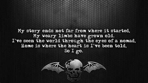 avenged sevenfold coming home lyrics on screen