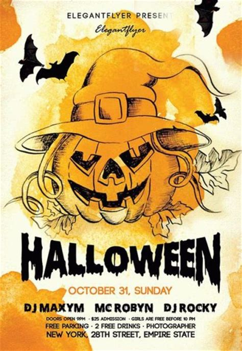 halloween templates for flyers free download the night halloween free flyer template for photoshop