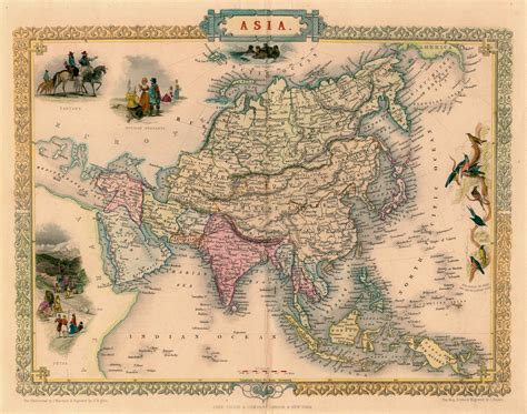 vintage maps antique map of asia by tallis 1851 map asia world antique maps and asia