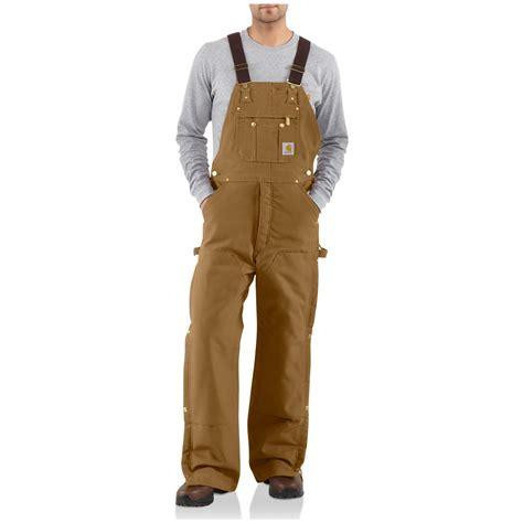 carhartt 174 duck quilt lined zip to thigh bib overalls