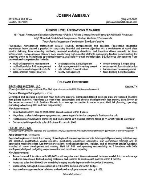 Operation Manager Resume by Operations Manager Resume Exle Resume Exles And
