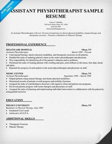 physiotherapy assistant resumes 28 images assistant