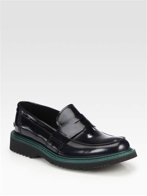 prada loafers prada spazzolato bi color loafer in blue for lyst