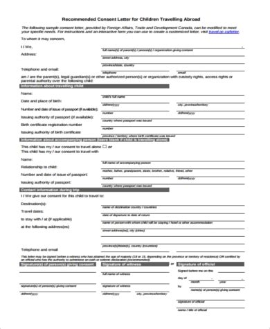 Child Travel Consent Form Sle 6 Free Documents In Word Pdf Free Child Travel Consent Form Template Pdf