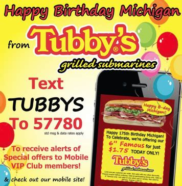 tubbys com tubby s subs 1 75 famous subs today only michigan