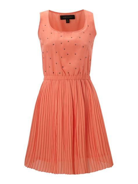 House Of Dereon Dresses by House Of Dereon Studded Dress With Pleated Skirt In Orange