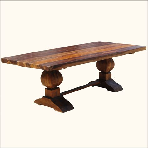 dining table for 10 rustic reclaimed wood trestle pedestal large 10