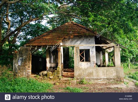 haunted houses near my location wrecked old haunted house in kerala india near the tropical forest stock photo